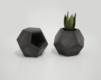 Concrete Planter Dodecahedron Geometric Cactus Succulent Pot Minimal Geometric Dodecahedron