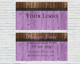 Rustic Purple Wood Business Card | Digital File | Small Business | Blogger | Printable | Download | Personalized | Independent Distributor