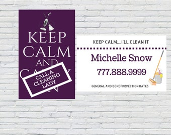 Housekeeping Business Card, Cleaning Business Card, Maid Business Card, Cleaning Lady Business Card, Cleaners Business Card, Custom Card