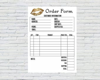 Printable Order Form, Gold Lips, Instant Download, Printable|Invoice, Sales Receipt, Makeup Invoice, LipSense Invoice, SeneGence Order Form