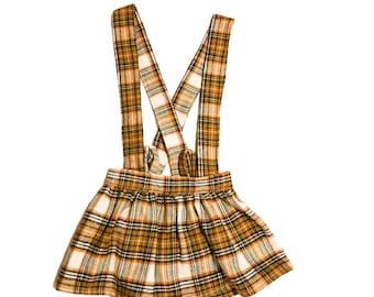 Plaid skirt with or without suspenders