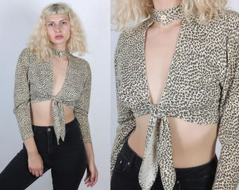 90s Keyhole Crop Top // Vintage 80s Animal Print Cropped Tie Waist Shirt - Small