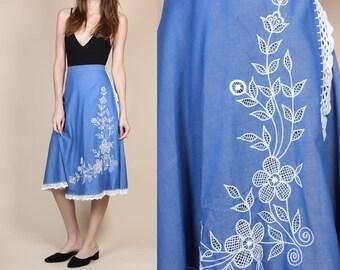 70s Chambray Embroidered Wrap Skirt - Small // Vintage Floral Crochet Boho Midi Skirt