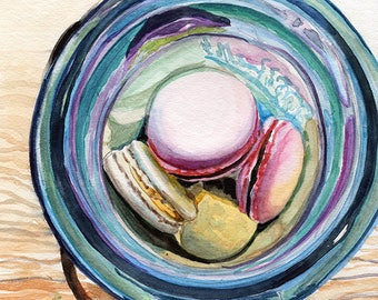 MACARON cookies in ball jar vintage collectible Fine art Print FROM original watercolor by Jennifer Redstreake
