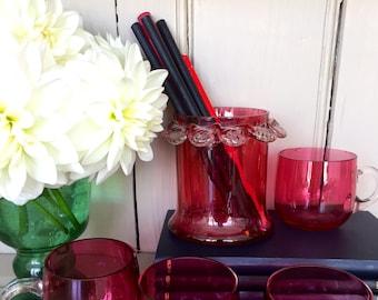 A Vintage Cranberry Glass Vase