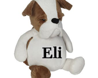 Personalized Dog Stuffed Animal - Custom monogram  stuffed dog pillow - gifts for baby, toddlers, girls, boys - custom gifts under 45