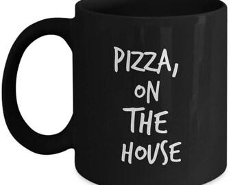 Breaking Bad Coffee Mug -Pizza, on the house - Walter White Scene - Black mug