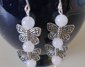 Rose quartz butterfly dangle earrings