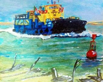 Digital D/load fine art painting Ferries of Culatra, Rio Grande
