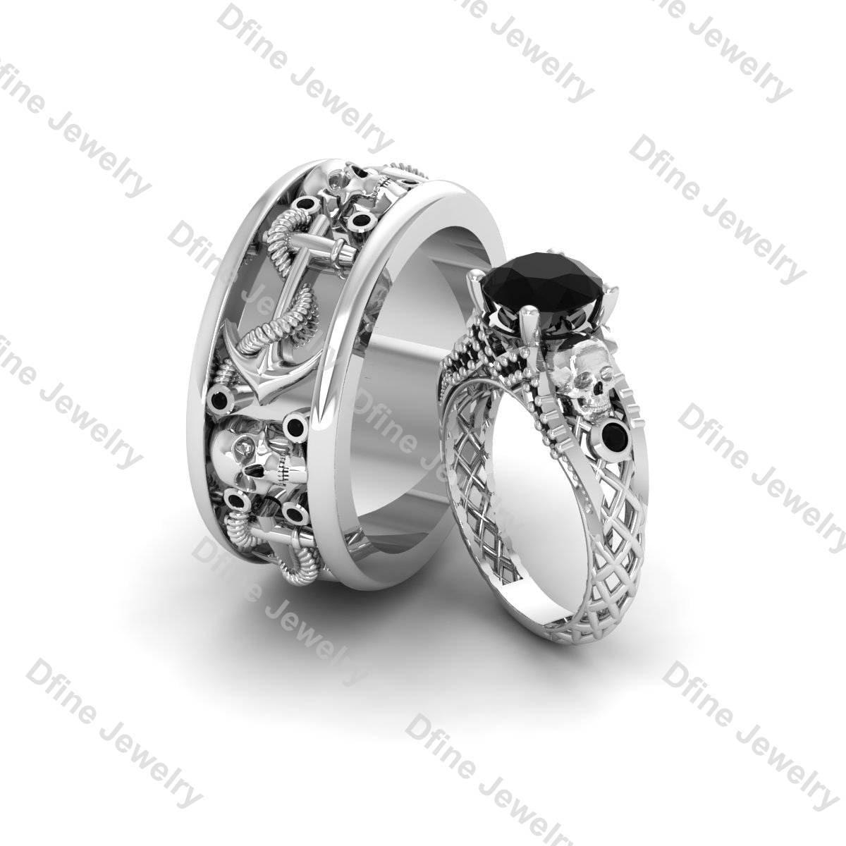 Captain Of Ship Anchor Skull Band Witchy Dark Fantasy Gothic Engagement Ring  2pc Couple Set Black