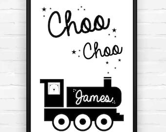 Choo Choo Personalised Nursery Print, Train Print, Kids Bedroom, Kids Name Print, Steam Train, Monochrome, Childrens Print