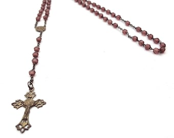 Vintage Rosary Thin Child Size Purple Faceted Beads Virgin Mary Metal Crucifix Cross Antique First communion Prayer Confirmation Jesus God