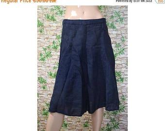 Vintage Puro Lino dark blue skirt linen