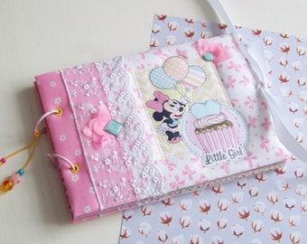 Photo album scrapbook scrapbooking baby girl minnie mouse mikkie mouse birthday party baby shower notebook baby book babybook newborn