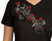 Heart vine shirts, Heart  shirt, women's T-shirts, bling heart shirts, rhinestone bling shirts, bling t shirt, bling heart shirt