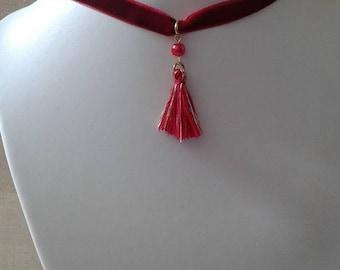 """""""red velvet Ribbon and tassel"""" necklace"""