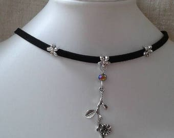 """""""Black Suede and silver flowers Ribbon"""" Choker necklace"""