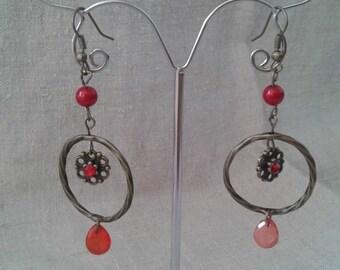 """flower in bronze circle"" earrings"