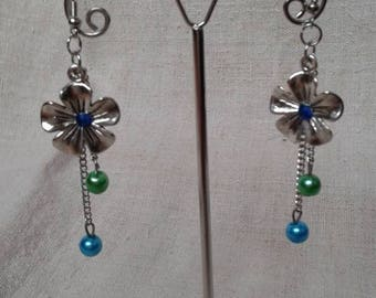 "Earrings ""Silver flower and beads"""
