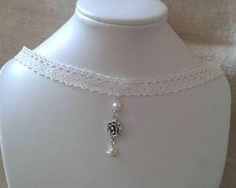 """ivory lace and Silver Flower"" Choker necklace"