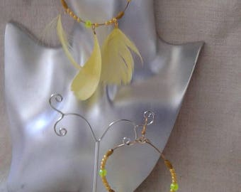 Earrings hoops yellow feathers