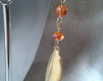 dangle drop earrings gold and orange