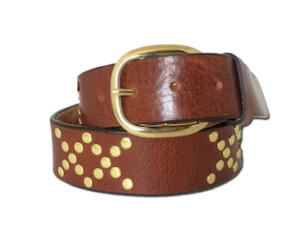 Double X Rivet Leather Belt