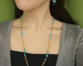 Blue bead Necklace Blue Earrings Gold Necklace Beaded Necklace Cluster Earrings Christmas Gift for Friend Christmas Gift Ideas Cheap Gifts