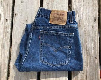 """Levi's 550 30"""" Dark Wash High Waist Red Tab Vintage Jeans"""