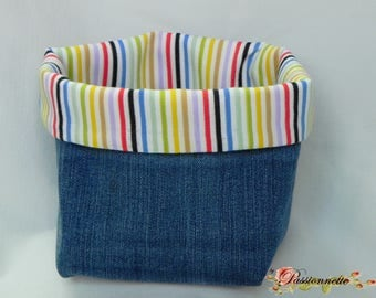 Pouch / tidy denim cotton and blue striped