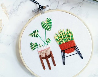 Philodendron & Sansevieria Plant Hand Embroidered Hoop Art | Embroidery, Cactus Decor, Wall Hanging, Indoor Plant, Embroidery Wall Art