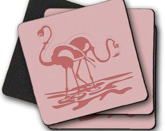 Pink Flamingos Stylish Coasters  set of 4