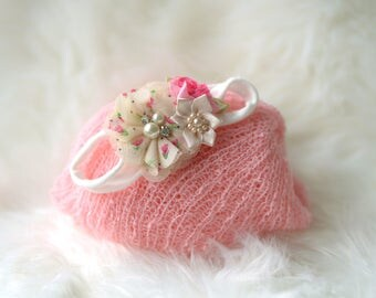 SET,white pink newborn Wrap headband set,Newborn wrap set,New born wrap, Photo Prop,newborn stretch wrap,newborn wrap and headband