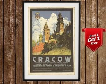 Krakow Vintage Print - Poland Print, Cracow Wall Art, Krakow Poster, Krakow Painting, Royal Krakow, Polish Wall Art, Vintage Polish Print