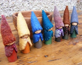 A Rainbow of Earthly Tones  A Set of Seven Gnome Wooden Peg Dolls