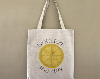 Custom Tote Bag Squeeze The Day Lemonade Customizable Personalized Gift For Her Gift For Him Shopping Bag Bulk Farmers Market