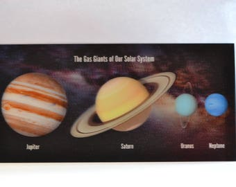 3D - large space postcard - The Gas Giants of our Solar System - 21 x 10 cm