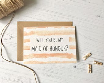Will you be my Maid of Honour || Rustic Modern  Maid of Honour card || Wedding card