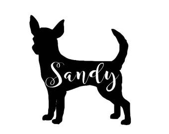 Chihuahua Silhouette Customized Decal Dog Sticker