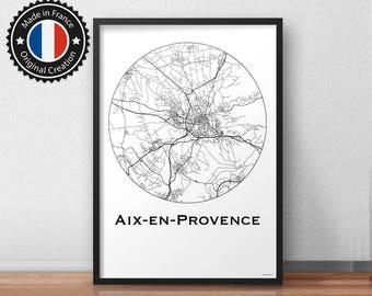 Poster Aix-en-Provence France Minimalist Map - City Map, Street Map