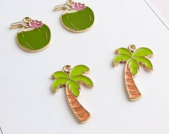 10pcs/lot Gold Tone Topic Fruit Coconut Charm-Coconut Tree Charm-Palm Tree Charms Enamel fit Necklace Bracelet Jewelry Finding Supplies