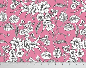 Pink Rayon Fabric, Floral Print, Quilting Velvet Fabric, Sewing Crafts, Upholstery Cotton Fabric, Fabric By The Yard, MIN-FL9K