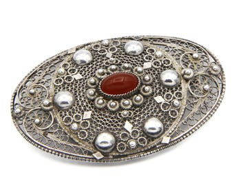 Filigree Brooch Pin, Antique 1930s Palestine Jewelry, 935 Sterling Silver, Red Carnelian Stone, Large Oval Baroque Pin, Middle Eastern Pin