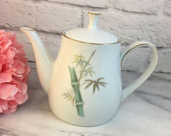 Noritake 6341 Oriental Teapot Bamboo Green Gold Excellent Japan 1950s RARE