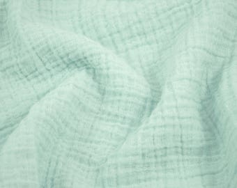"""5 yards Mint Green - Sunny Double Gauze Fabric - 100% cotton muslin swaddle fabric, 52"""" wide"""