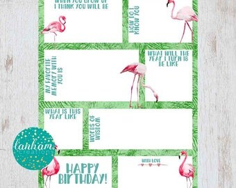 Birthday Time Capsule - Tropical Birthday Decorations - Time Capsule Printable - Flamingo Party - First Birthday Time Capsule Card