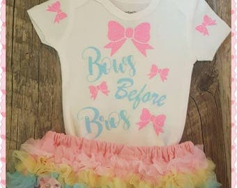 Preemie, Newborn, Baby Girl, Summertime, Coming Home,  Going Home,  Baby Shower, Bows Before Bros, 3 Piece Outfit