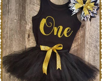 Black and Gold TUTU Birthday, Set, Any Age Available, Black TUTU, First Birthday, 1st Birthday, Tutu Birthday Outfit