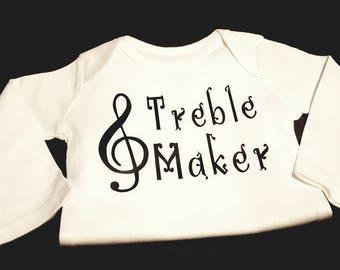 Preemie, Baby, Newborn, Unisex, Toddler, Boy, Girl, Music, Musical, Musical Notes, Treble Maker Onesie or Tee