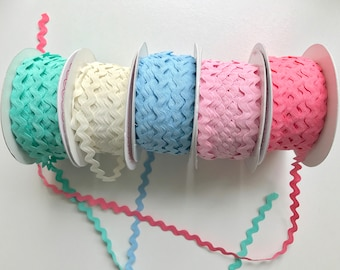 Ric rac decorative trim, sewing trimmings,berties bows, zig zag trim, pastel coloured trimmings
